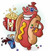 Постер, плакат: Hot Dog Cartoon At the Movies