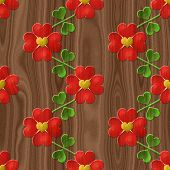Heart Flower Seamless Relief Painting On Generated Wood Texture
