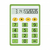Green electronic calculator on a white background