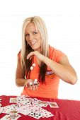 Woman Cards Drop Dice From Hand To Hand