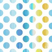 Seamless Blue Watercolor Pattern With Polka Dots