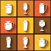 Set Of 9 Flat Icons Of Different Beer Glasses. Eps10