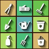 Set Of 9 Flat Icons Of Garden Instruments. Eps10