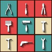 Set Of 9 Flat Icons Of Worker's Tools. Eps10
