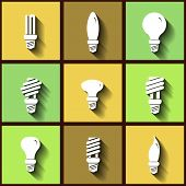 Set Of 9 Flat Icons Of Energy Saving Lamps. Eps10