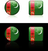 Turkmenistan Flag Buttons On White And Black Background