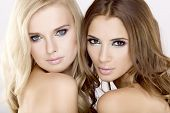 Two smiling attractive and sensuality young adult girl friends - blond and brunette on white backgro