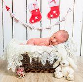 Cute newborn baby sleeps  close-up
