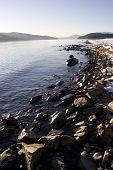 Rocky Winter Shoreline on Lake Pend Oreille Idaho
