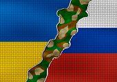 Ukraine and Russia Flag - conflict concept