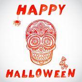 Vector vintage Halloween skull illustration