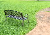 Wooden Park Bench At The Public Park Image