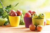 Juicy apples in pots, close-up