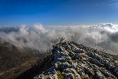 rocks shrouded in mist