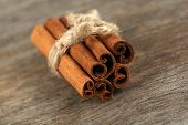 Cinnamon bark on wooden table