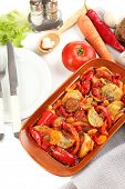 Vegetable ragout on table, close-up