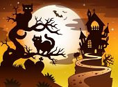 Theme with Halloween silhouette 1 - eps10 vector illustration.