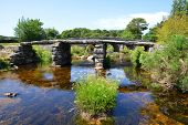 The ancient clapper bridge in Dartmoor