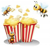 Illustration of  bees and popcorn
