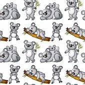 Illustration of a seamless koala