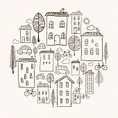 Houses Doodles In Circle