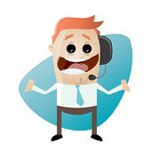 funny businessman with headset
