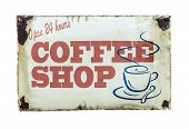 picture of diners  - Isolated Retro Vintage Coffee Shop Sign For 24 Hour Diner - JPG