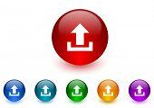 upload internet icons colorful set
