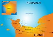 Vector color map of Normandy coast