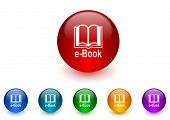 book internet icons colorful set