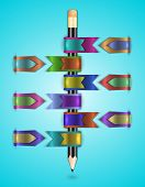 Colorful Web Ribbons With Pencil