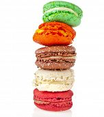 Colorful macaroons tower isolation on a white background