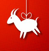 image of canvas  - Goat Paper Applique on Bright Red Canvas Background - JPG