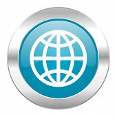 earth internet blue icon