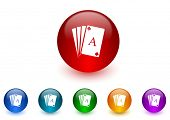 card internet icons colorful set