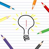 Stylized Bulb Sketching On A White Sheet With Colored Pencils