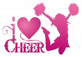 I Love Cheer With Jumping Cheerleader