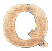 Painted on wood alphabet, letter Q