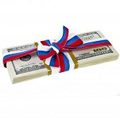 souvenir pack dollar banknotes tied with a bow ribbon Russian  isolated on a white background