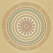Vintage round pattern with ethnic ornament on grunge background