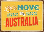 Vintage metal sign - Let's move to Australia - JPG Version
