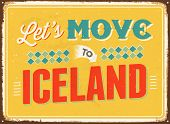Vintage metal sign - Let's move to Iceland - JPG Version