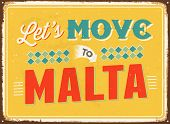 Vintage metal sign - Let's move to Malta - JPG Version