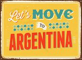 Vintage metal sign - Let's move to Argentina - JPG Version