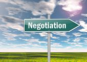stock photo of negotiating  - Signpost Image Graphic Picture with Negotiation wording - JPG