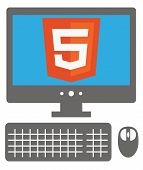vector icon of personal computer with html5 sign on the screen,