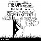 Vector concept or conceptual black health text word cloud as tree and grass, a man jumping isolated