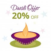Stylish offer poster, banner or flyer design with illuminated oil lit lamp on stars decorated backgr