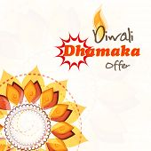 Stylish offer poster, banner or flyer design with beautiful rangoli for Happy Diwali celebrations.