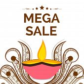 Mega sale offer poster, banner or flyer design with illuminated oil lit lamp on floral design decora